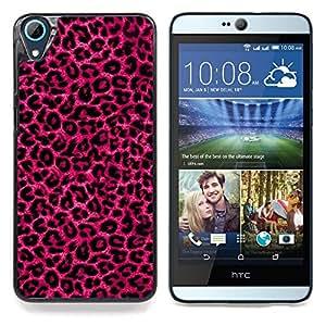"""Patrón Leopard Purple Pink Fur Bling"""" - Metal de aluminio y de plástico duro Caja del teléfono - Negro - HTC Desire 626 626w 626d 626g 626G dual sim"""