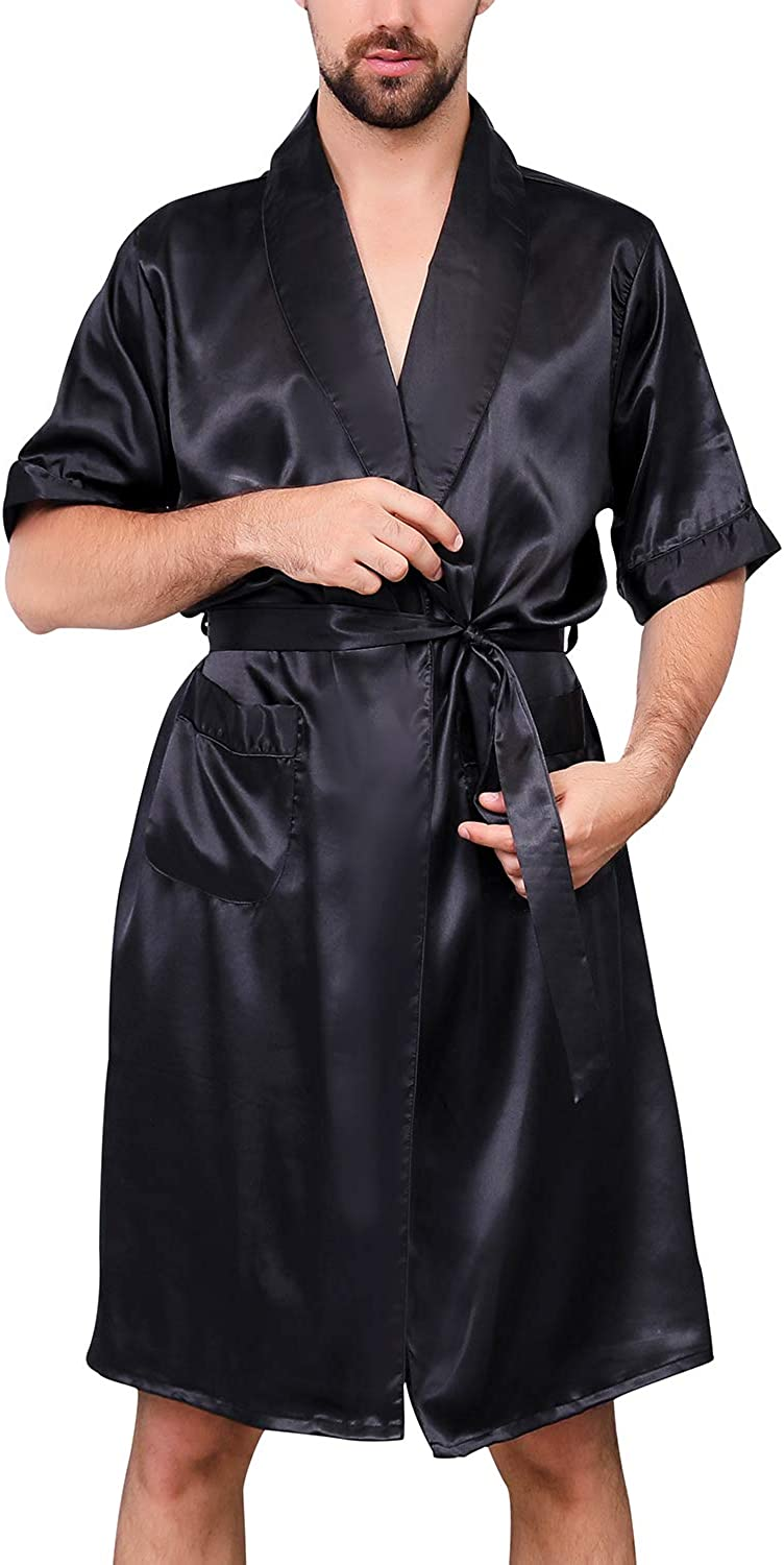 Lu's Chic Men's Satin Kimono Robe Silk Short Sleeves Summer Bathrobe Pockets Nightgown Robes