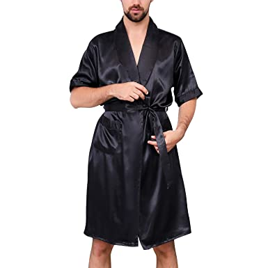 5ac92f4f43 Lu s Chic Men s Satin Kimono Robe Silk Short Sleeves Summer Bathrobe  Pockets Nightgown Robes Black US