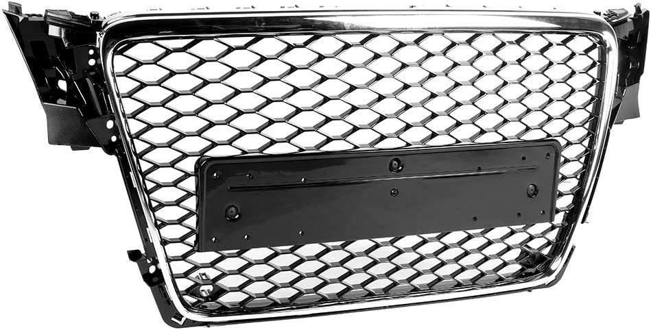 KIMISS Frontgrill RS4 Style Frontgrill Sport Schwarz Mesh Hood Grill Fit f/ür A4//S4 B8 2009-2012