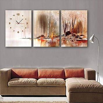 Ibuprofen Modernes Wohnzimmer Esszimmer Dekoration Malerei Stumm Uhr  Leinwand Gemälde Dreifache Wanduhr Rauch Und Regen Seeufer
