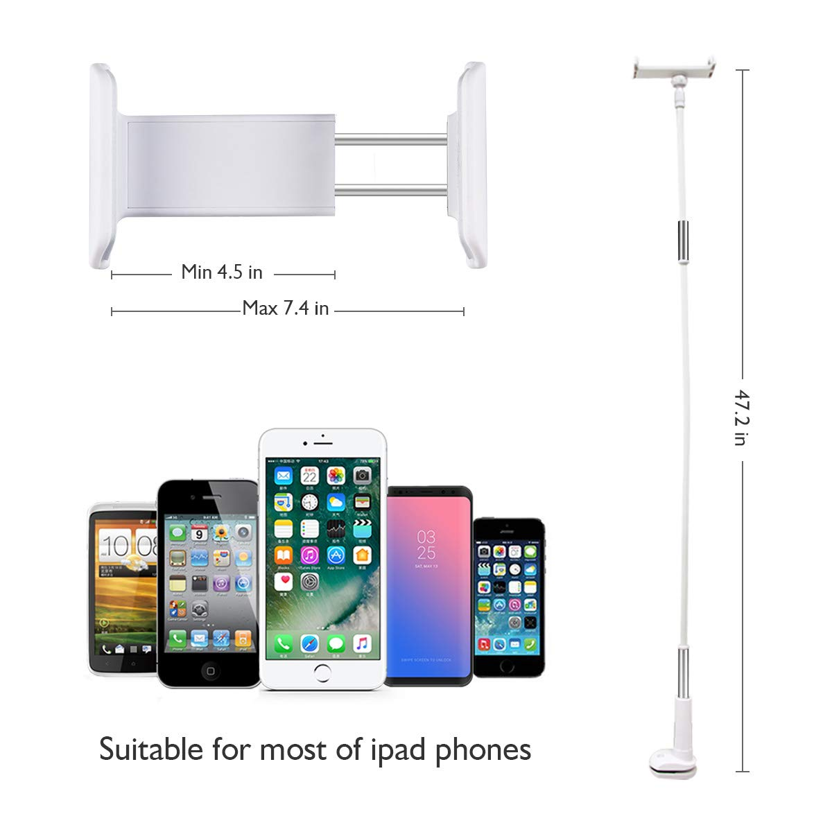Licheers Lazy Phone Holder, 360 Rotating Flexible Long Arm Gooseneck Bracket for Universal Cell Phone, Solid Grip Securely Clamped to Counter Top, Bed Post, Desk (White)