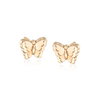 016b7d85e Image Unavailable. Image not available for. Color: Ross-Simons Child's 14kt  Yellow Gold Butterfly Earrings