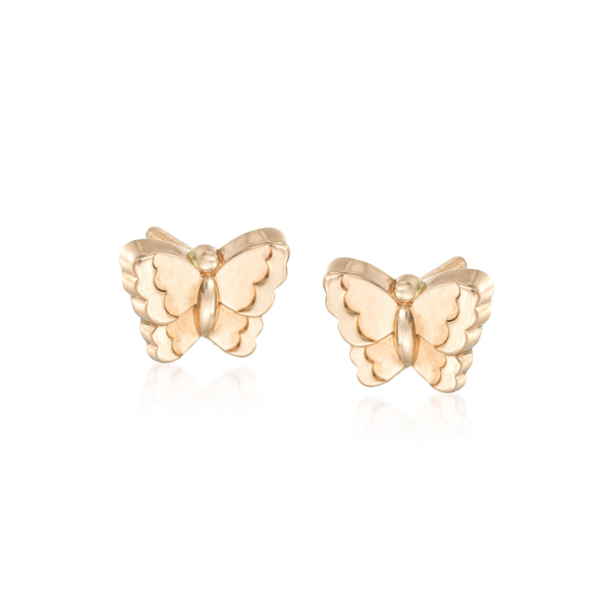 Ross-Simons Child's 14kt Yellow Gold Butterfly Earrings by Ross-Simons (Image #1)