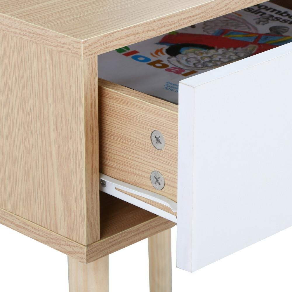 Topeakmart Walnut Bedside Table Solid Wood Legs Nightstand with White Storage Drawer by Topeakmart (Image #5)