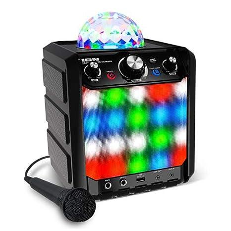 Ion Party Rocker Express Bluetooth Karaoke Partylautsprecher mit LED Light-Show, Mikrofon, Integriertem Echo-Effekt und USB-A