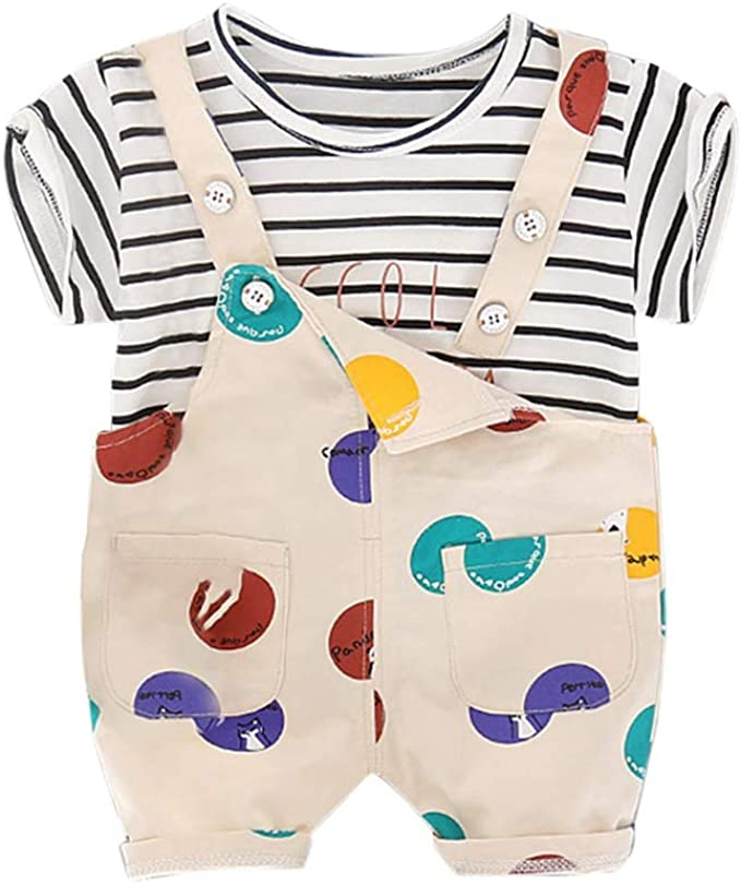 Janly Kids Clothes Kids Baby Girls Boys Suspender Trousers Boat Print Romper Bodysuit Overalls