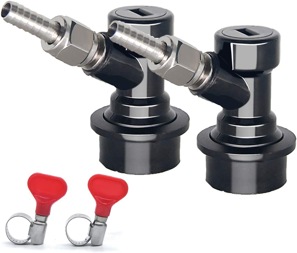 Cornelius Keg Ball Lock Disconnect - LUCKEG Brand Ball Lock Liquid Disconnect 1/4 MFL with Swivel Nuts, 2 Free Worm Clamps for Homebrewing