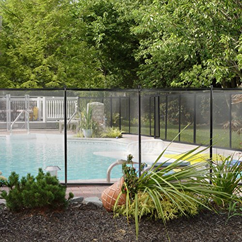 XtremepowerUS Swimming Pool Fence See-Thru Pool Fence 4' Tall 12' Long Removable Child Safety Fence Barrier Pool Safety Mesh Fence 4-Section