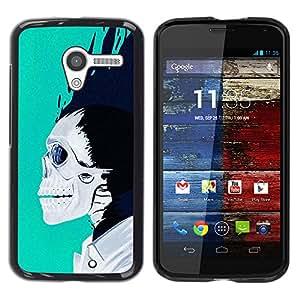 iBinBang / Funda Carcasa Cover Skin Case - Teal White Black Skull Blue Flames - Motorola Moto X 1 1st GEN I XT1058 XT1053 XT1052 XT1056 XT1060 XT1055