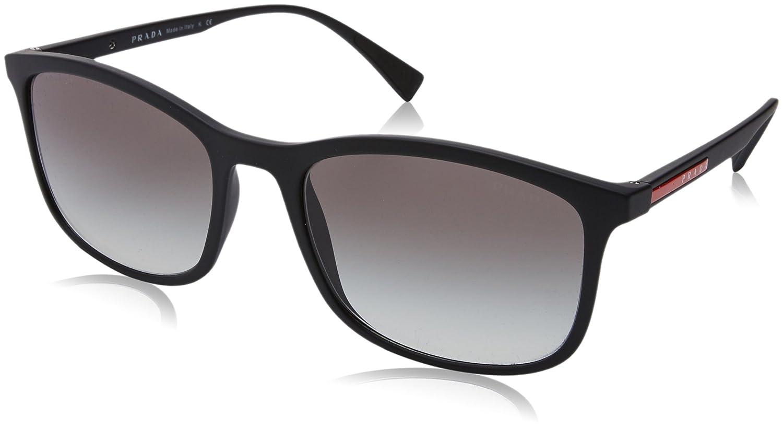 27e8067b4ac43 Amazon.com  Prada Sport PS01TS DG00A7 Black Rubber PS01TS Rectangle  Sunglasses Lens Categor  Prada Sport  Clothing