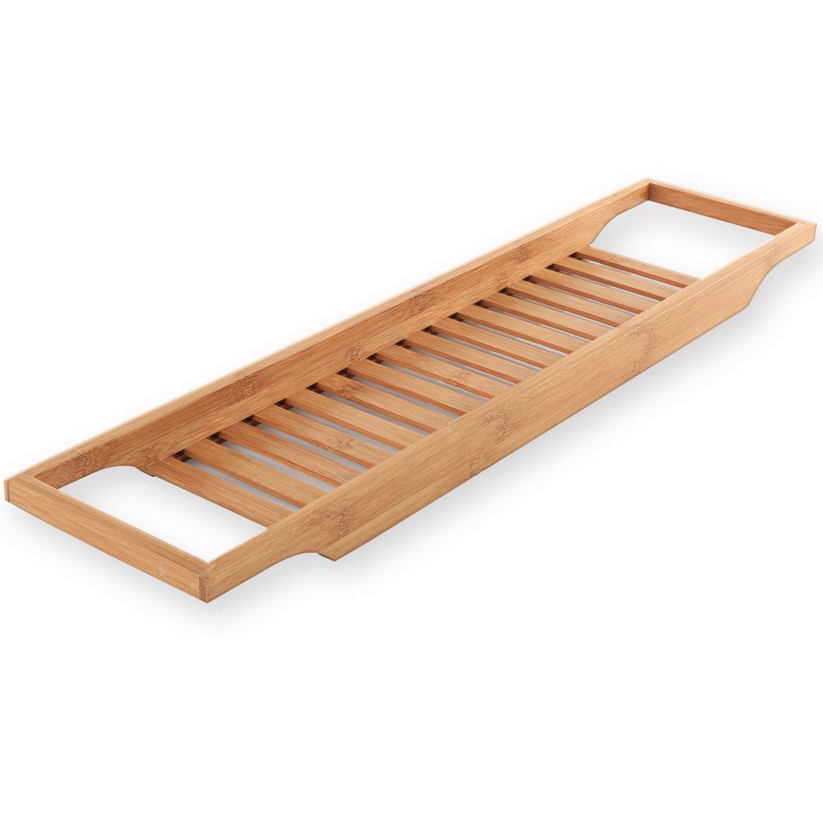 Torrex® 30541 Badewannenregal aus Bambus in verschiedenen Größen Badewannenablage (64 x 15 x 3, 5 cm)