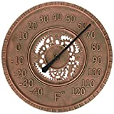 Lily's Home Hanging Wall Thermometer, Steampunk Gear and Cog Design with a Bronze Finish, Ideal for Indoor or Outdoor Use, Poly-Resin (13 Inches Diameter)