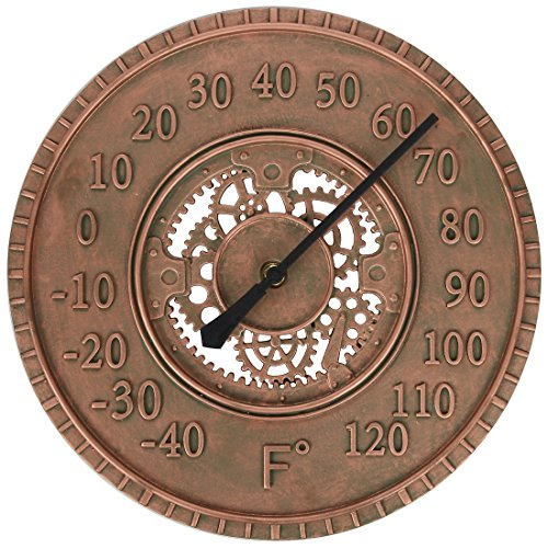 (Lily's Home Hanging Wall Thermometer, Steampunk Gear and Cog Design with a Bronze Finish, Ideal for Indoor or Outdoor Use, Poly-Resin (13 Inches Diameter))