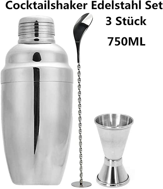 Compra huichang Coctelera Set, 3 pieza 750 ml Acero Inoxidable Bar ...