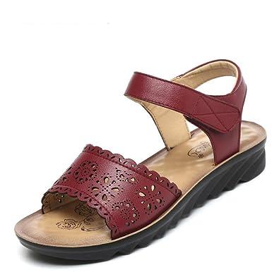 RUGAI-UE Sandales à semelle épaisse Télévision de l'été Chaussures femmes,marron clair,trente-cinq