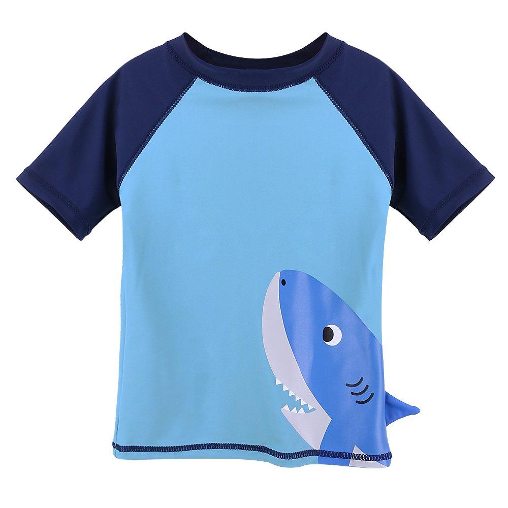 HUANQIUE Baby Boy Swimsuit Rash Guard Swimwear Two Piece Short Sleeve