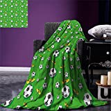 smallbeefly Soccer Throw Blanket Professional Player Athletics Pattern Football Shoes Balls on Grass Warm Microfiber All Season Blanket for Bed or Couch Lime Green Yellow Black