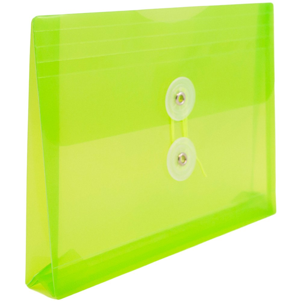 JAM PAPER Plastic Envelopes with Button & String Tie Closure - Index Size - 5 1/2 x 7 1/2 - Lime Green - 12/Pack by JAM Paper (Image #3)