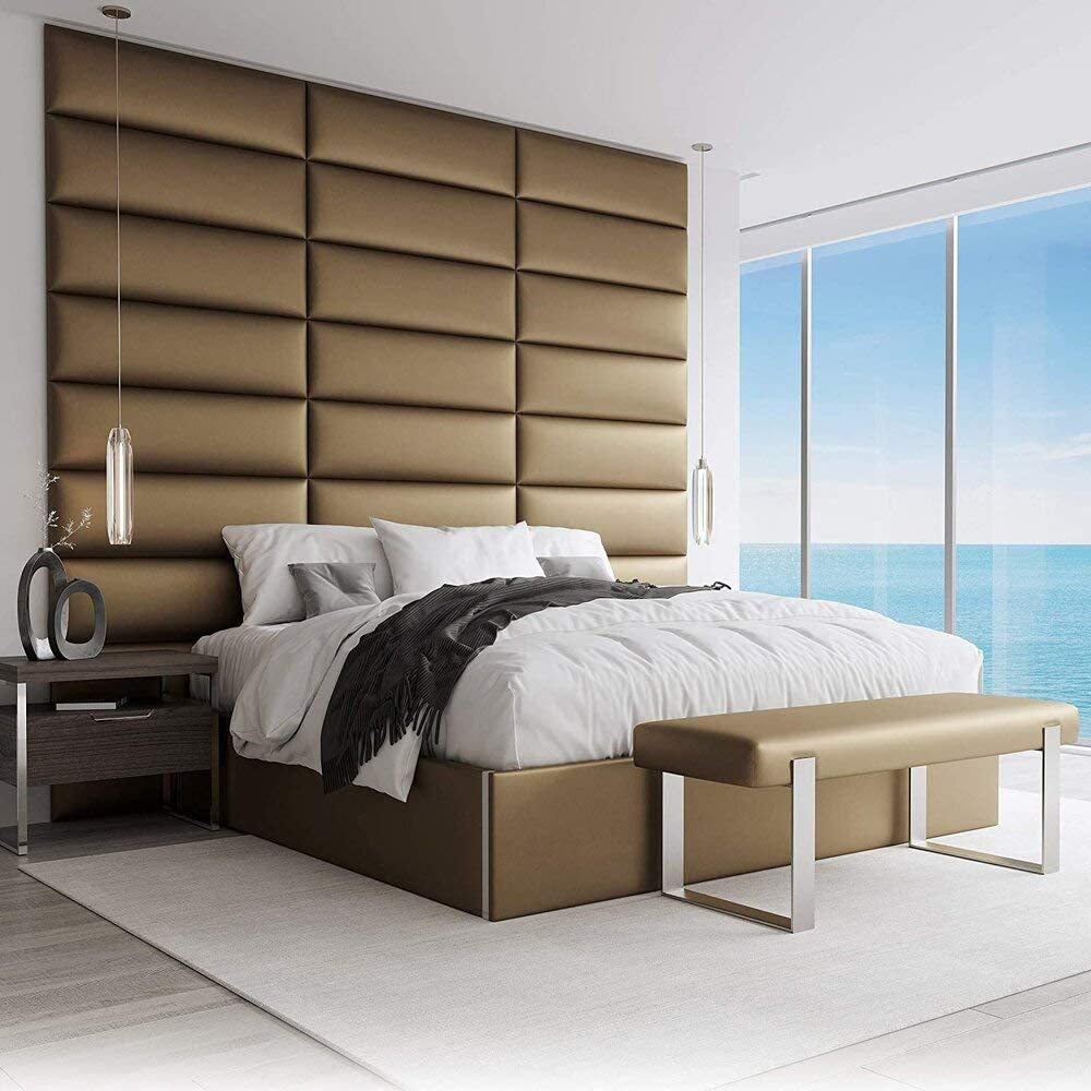Vant Upholstered Accent Wall Panels Packs Of 4 Easy To Install Twin King Size Headboard 76cm Wide Metallic Gold Amazon Co Uk Kitchen Home