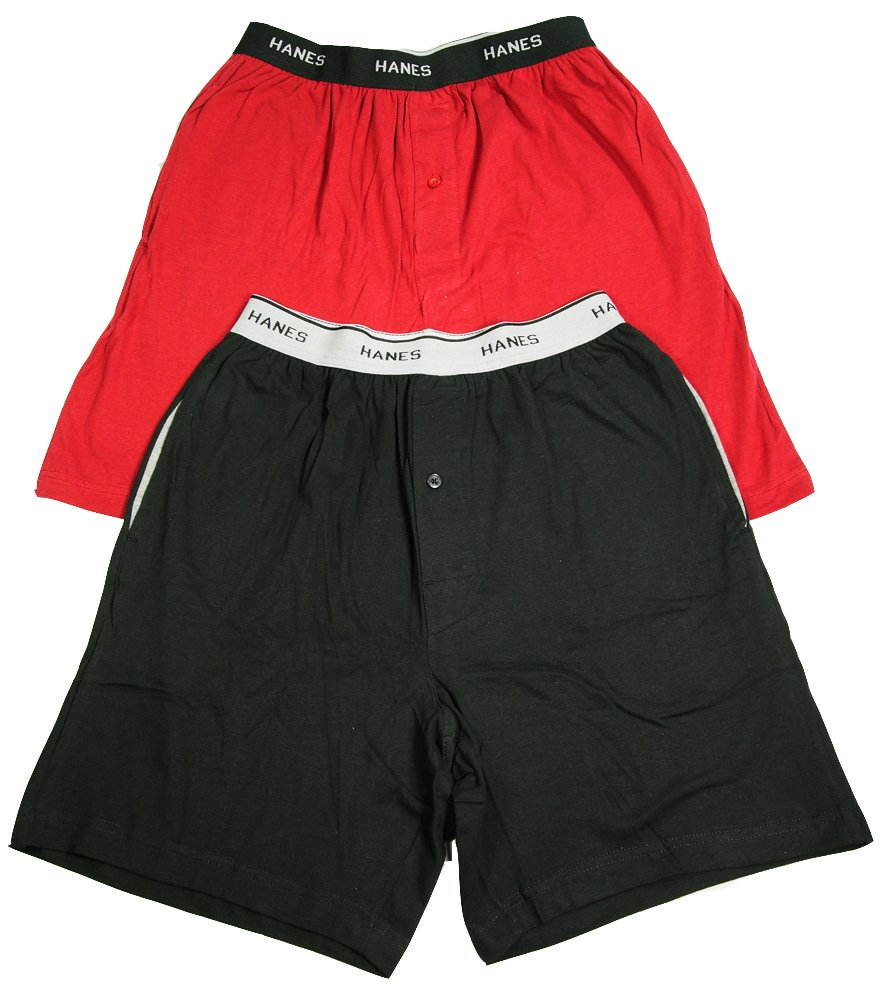 Hanes Mens Jersey Lounge Shorts with Logo Waistband, Red/Black, Pack 2 40118-Large