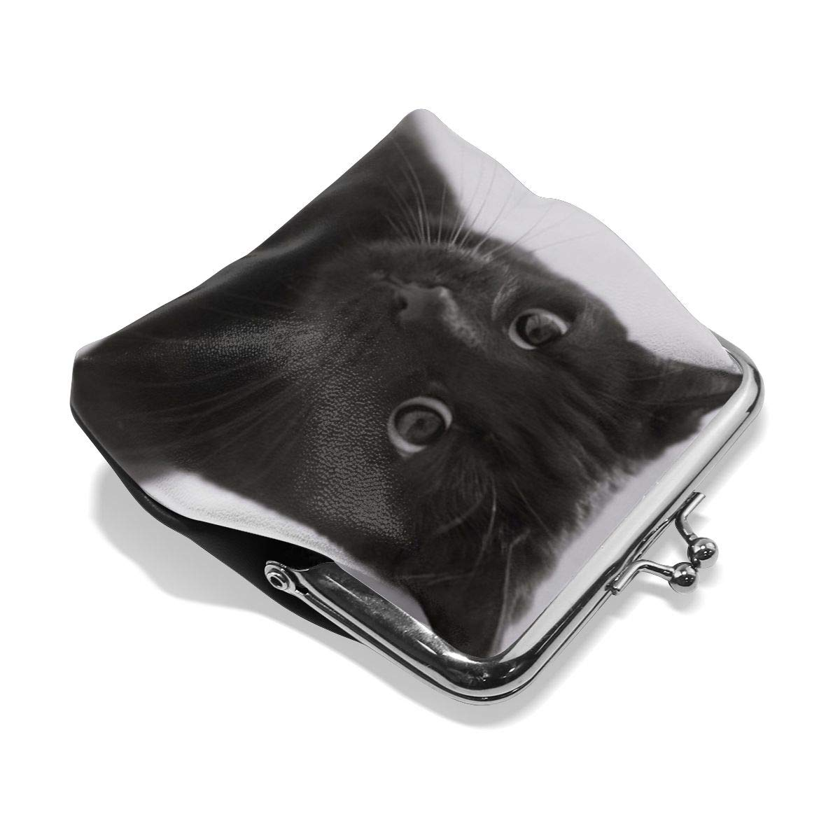 Yunshm Black Cat Personalized Retro Leather Cute Classic Floral Coin Purse Clutch Pouch Wallet For Girls And Womens