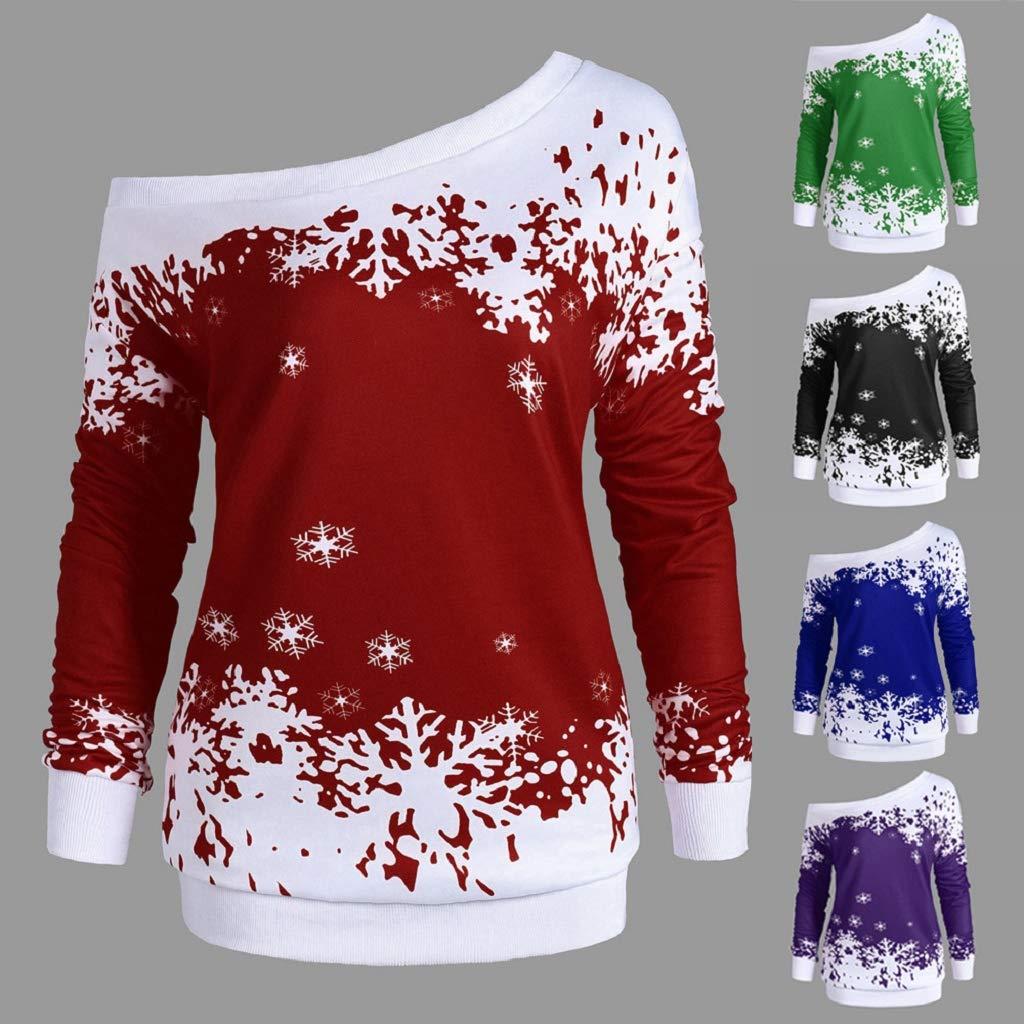 Soupliebe Plus Size Damen Half O Neck T Shirt Weihnachten Elch Print ...