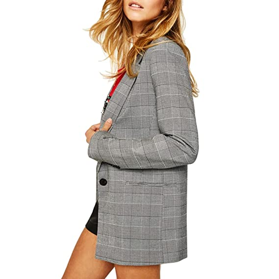 Subwell Women's Casual Oversized Plaid Blazers Pockets Boyfriend Long Jacket Suits by Subwell