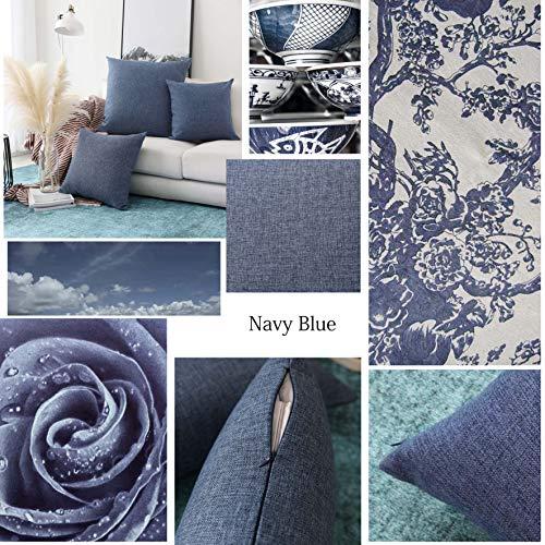 property BRILLIANT Indigo Linen Decorative Throw Pillow Covers