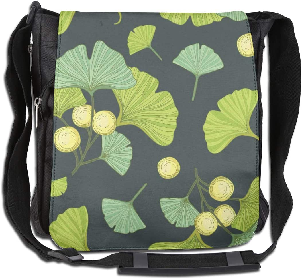 Doinh - Bolso Bandolera de Lona Personalizado, con diseño de Hojas de Abanico Verde Oscuro y Verde Claro, Adecuado Tanto para Hombres como para Mujeres