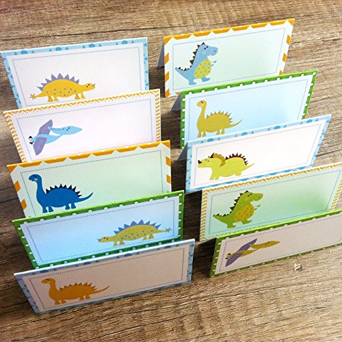 Dinosaur Place Tent Cards - Boy Girl Birthday Baby Shower Party Supplies - Set of 12 (Dinosaur Party Food)