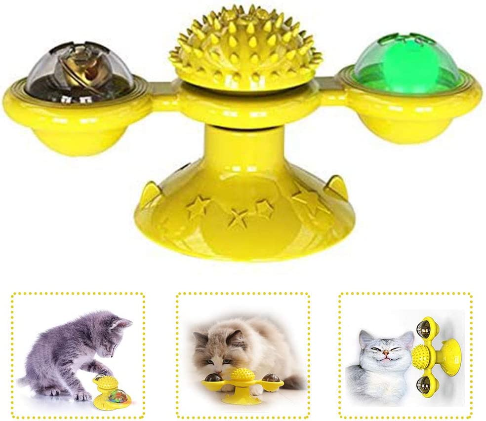 Aidiyapet Cat Toys,Interactive Teasing Cat Toy Windmill Turntable Teasing Cat Toy Scratching Tickle Hair Brush Pet Accessories Crazy Game