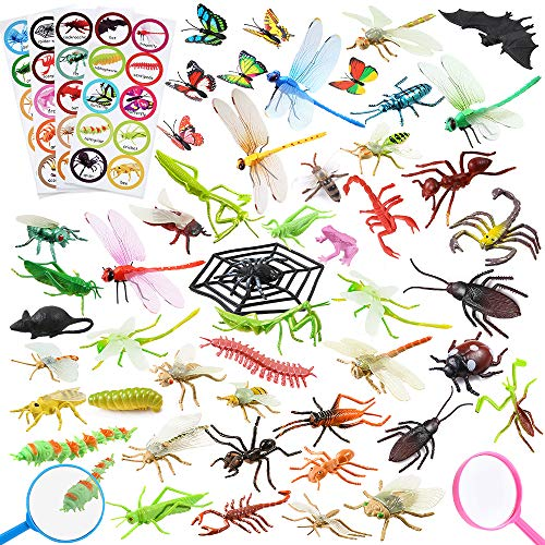 Auihiay 55 Pieces Plastic Insect Figures Toys Include Assorted Bugs and Insect Stickers with Name for Children Educational, Halloween Toys, Insect Themed Party and Birthday Favor
