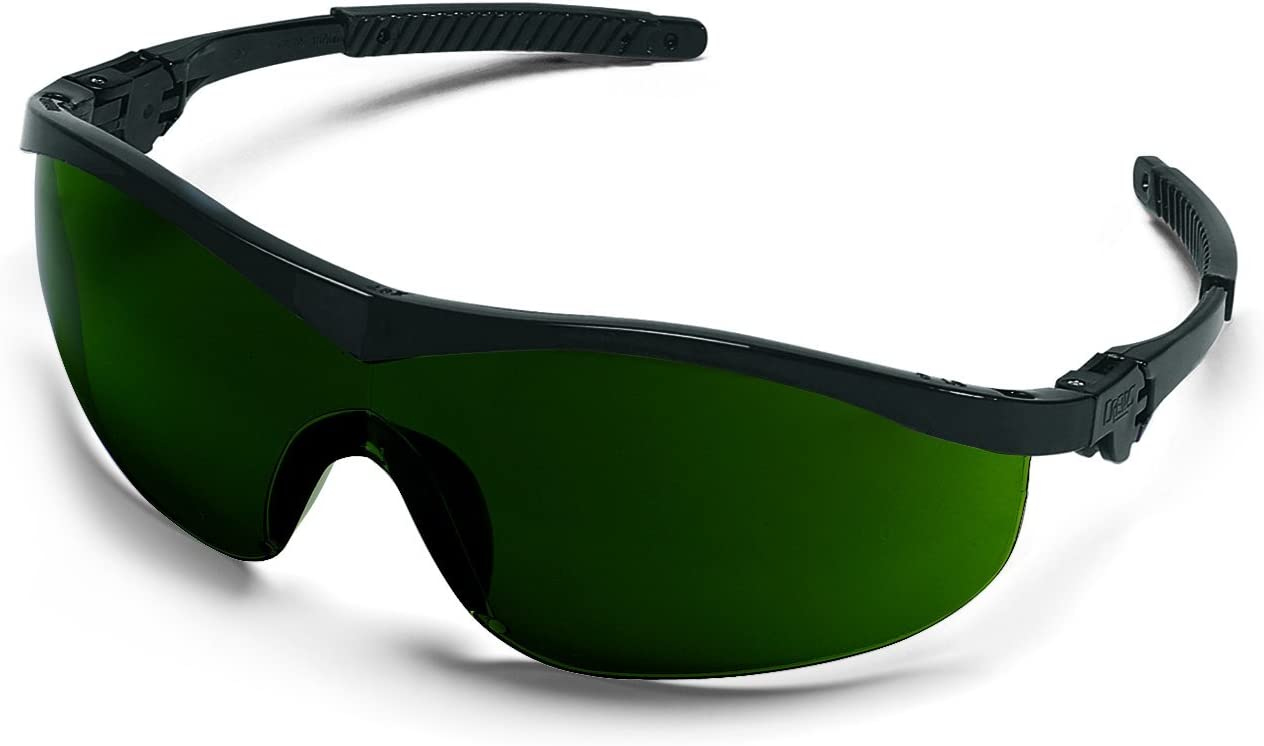 12-Pair MCR Safety Crews LW2150 Law 2 Polycarbonate Green Filter 5.0 Lens Safety Glasses with Bayonet Temple