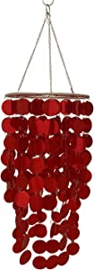 """FlavorThings Metallic Red Bling Hanging Chandelier W8.5"""" H18"""" Great idea for Wedding Chandeliers Centerpieces Decorations and Any Event Party Decor (Red)"""