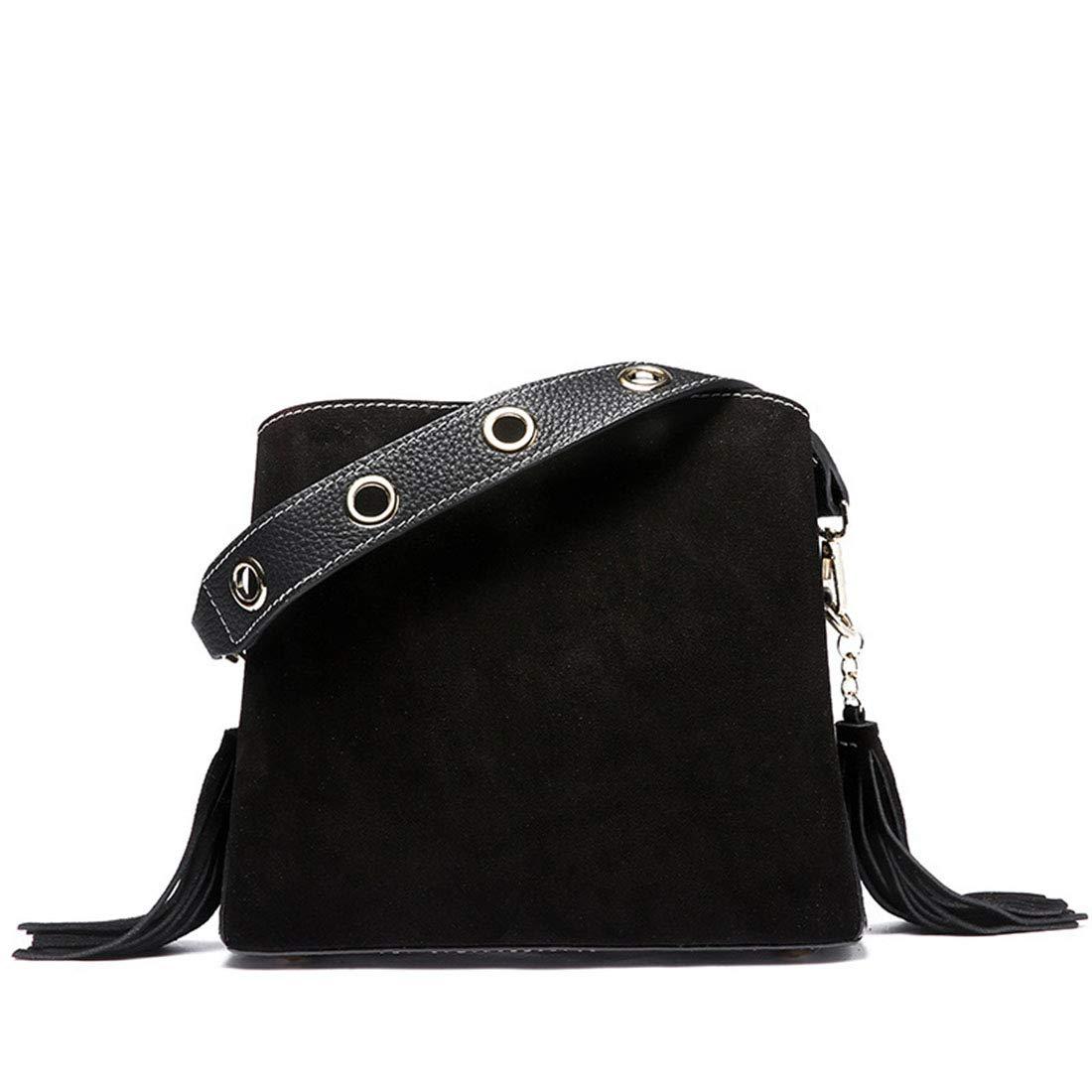 Caramel Color Carriemeow Simple Retro Zipper Bucket Type Leather Shoulder Bag Messenger Bag Color : Green