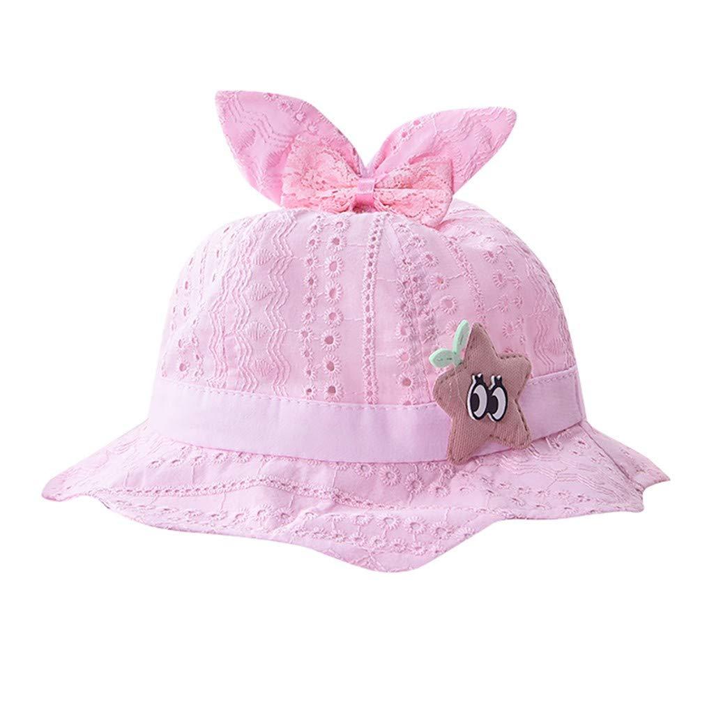 ❤️ Mealeaf ❤️ Baby Toddler Boys Girls Summer Cartoon Ear Hat Infant Stars Printing Cap(Pink,)