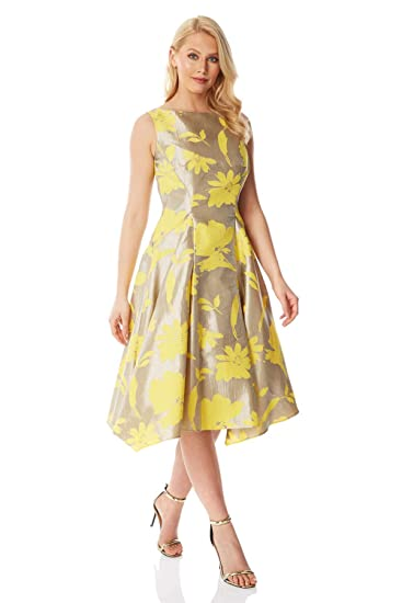 13a75bc60893d9 Roman Originals Women Floral Jacquard Fit and Flare Dress 50% Cotton -  Ladies Evening Party Sleeveless Metallic Midi Long Boat Neck Prom Ball Gown  Skater ...
