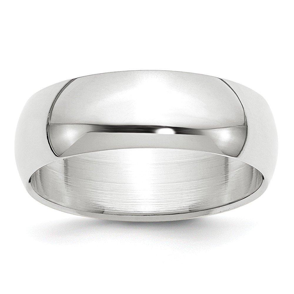 10K White Gold 7mm Half Round Band Ring