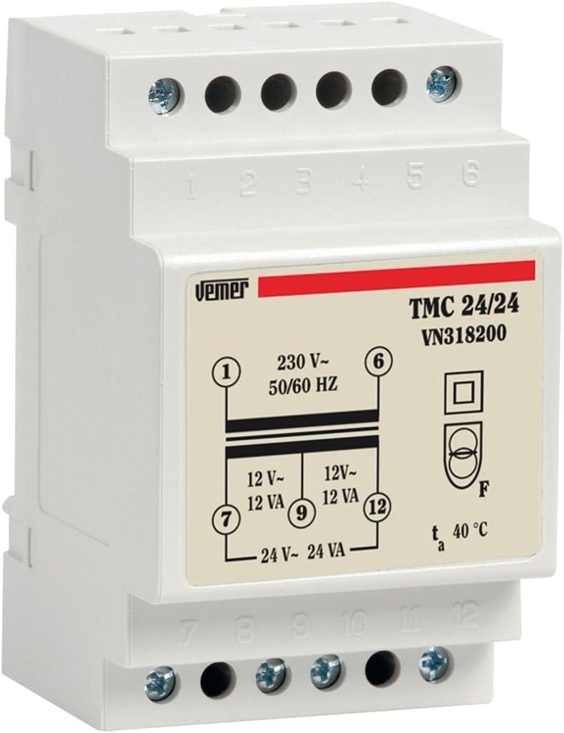 Vemer vn318200Transformador TMC 24/24de Barra DIN para Servicio Continuo 230V/12–24V, Gris Claro