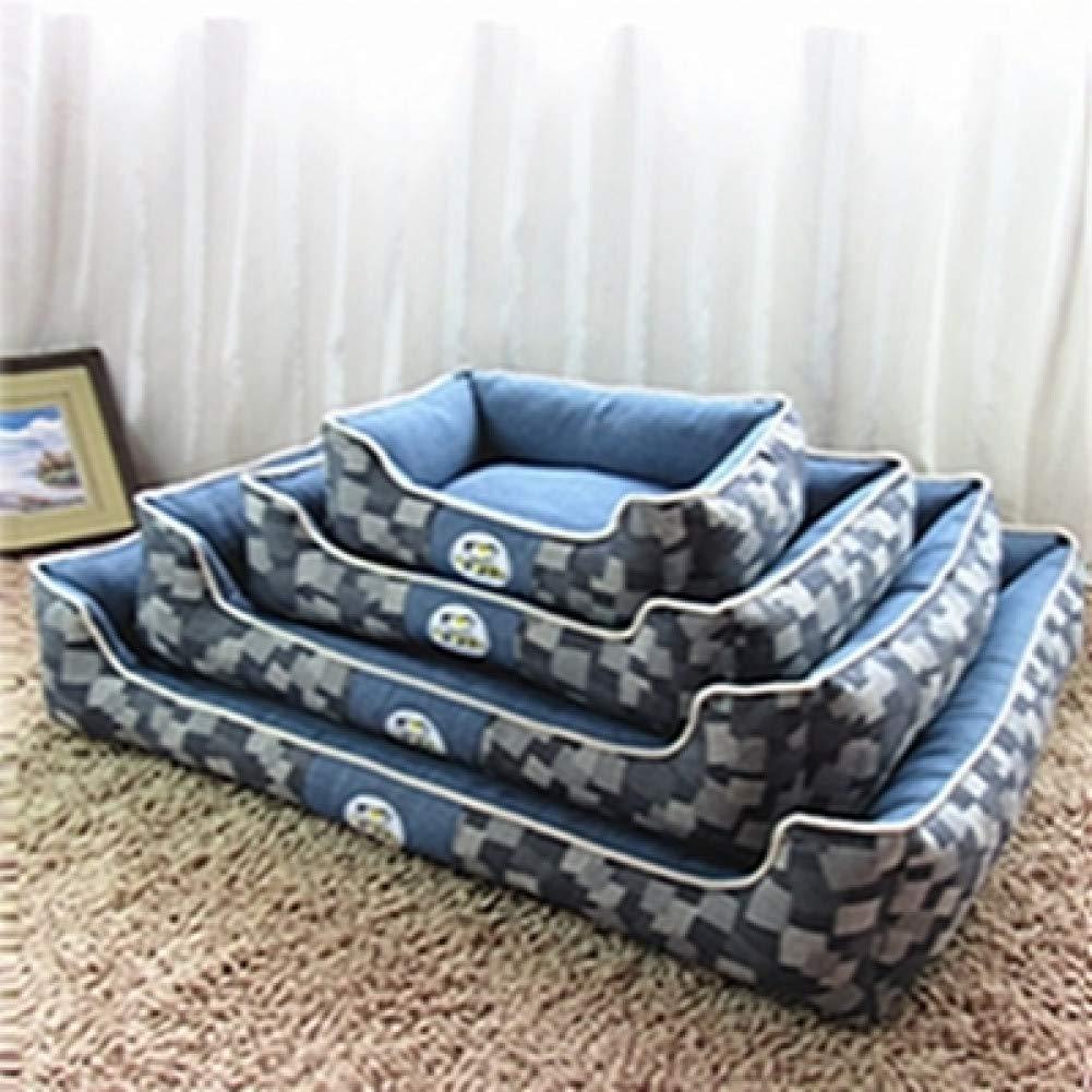 blue M New bluee Denim Dog Bed Detachable and Washable Pet House Puppy Cat Mat Medium Large Dog Kennel Moisture Mat Test