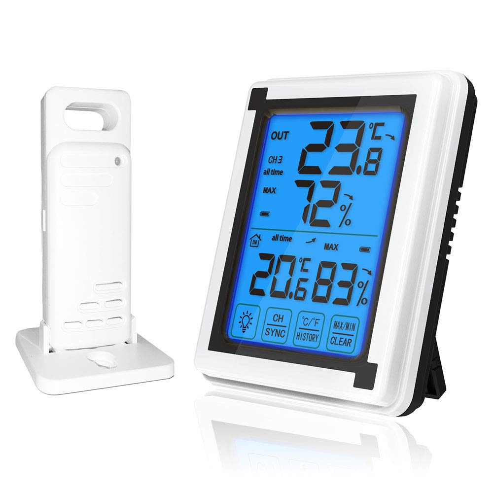 ALLOMN Wireless Digital Thermometer Hygrometer, Indoor Outdoor Temperature Humidity Monitor LCD Large Screen Weather Clock, Touch Screen, °C/°F Switch, Backlight, XP4 Waterproof, Trend Indicator