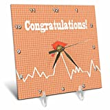 3dRose Beverly Turner Graduation Design - Heart Beat with Grad Cap on Graph Paper, Medical Theme, Peach - 6x6 Desk Clock (dc_262862_1)