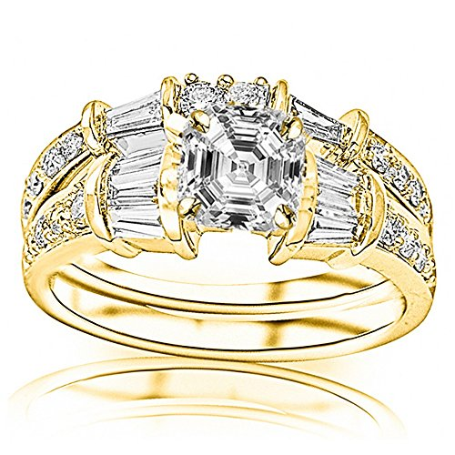 0.8 Ct Baguette (14K Yellow Gold 1.63 CTW Baguette And Round Brilliant Diamond Engagement Ring and Wedding Band Set w/ 0.8 Ct Asscher Cut F Color SI1 Clarity Center)