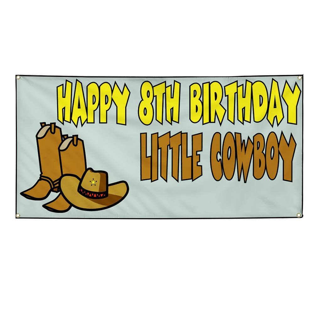 32inx80in Vinyl Banner Sign Happy 8th Birhday Cowboy Lifestyle Marketing Advertising Yellow Multiple Sizes Available 6 Grommets Set of 2