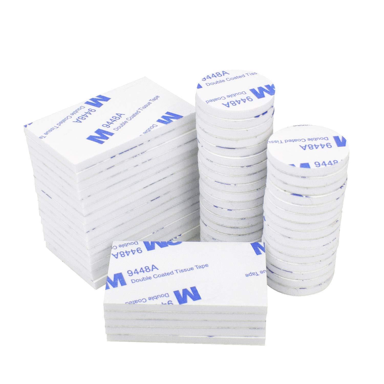 bianco rotondo e rettangolare 50 pezzi nastro biadesivo nastro di montaggio resistente Cuscinetti in schiuma biadesivi