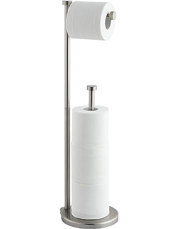portarrollos de ba/ño con Capacidad para 3 Rollos de Papel Transparente Estrecho Soporte de Papel higi/énico de pl/ástico InterDesign iDesign Portarrollos de pie con Tapa