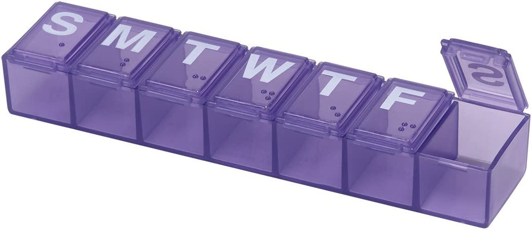 Ezy Dose Travel (7-Day) Pill, Medicine, Vitamin Organizer Box | Weekly, Daily Planner | Medium Compartments | Assorted Color: Health & Personal Care