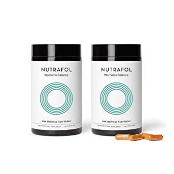 Nutrafol Women's Balance Hair Growth Supplement For Thicker, Stronger Hair Peri- and Postmenopause (4 Capsules Per Day - 2 Bottles - 2 Month Supply)