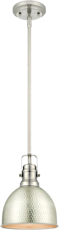 Westinghouse Lighting 6345500 One-Light Mini Pendant Hammered Brushed Nickel Finish
